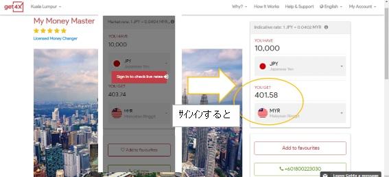 両替レート検索get4x サインイン