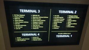 チャンギ国際空港 ターミナル別航空会社