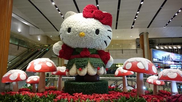 2017年クリスマス チャンギ空港 キティちゃんの出迎え