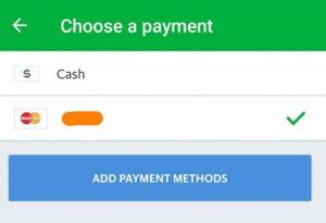 Grab 支払い方法の選択
