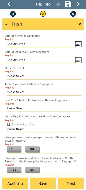 SG Arrival Card  Trip Information画面